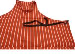Dennys Red/White Cotton Butcher Stripe Bib Apron