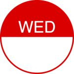 Round Day Dot Labels Wednesday (Red)