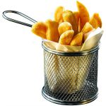 Round Stainless Steel Serving Basket 9.3cm Dia x 9cm H (6 Pack)