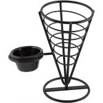 Black Wire Serving Cone With 1 Ramekin Well