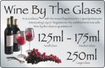 Silver Wine By The Glass Sign 125ml,175ml,250ml