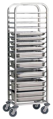 Stainless Steel 2/1 (650mm x 530mm) Gastronorm Trolley 14 Tier