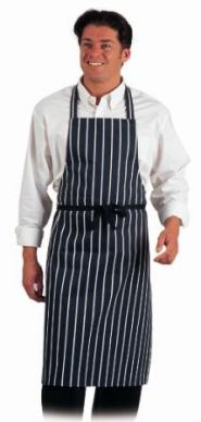 Dennys Blue/White Cotton Butcher Stripe Bib Apron