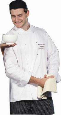 Dennys Unisex White Long Sleeve Chef Jacket Press Stud Button