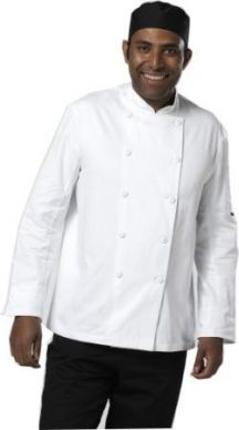White Long Sleeve Chef Jacket Cloth Button Size Small