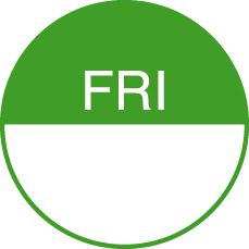 Round Day Dot Labels Friday (Green)