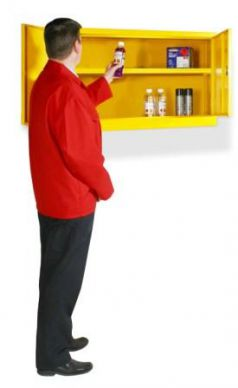 Yellow Hazardous Substance Wall Cabinet 610mm H x 915mm W x 381mm D