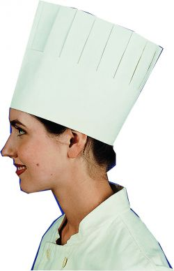 Pal Disposable Pleated Chefs Hat 195mm High (10 Pack)