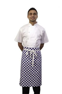 Dennys Blue/White Checked Waist Apron