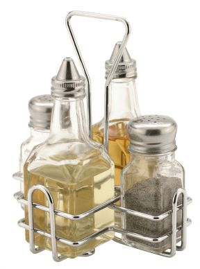 Glass 4 Piece Condiment Set With Holder