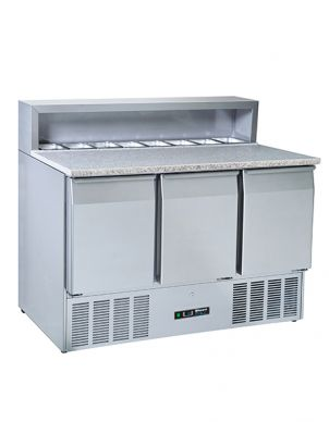 Blizzard BCC3PREPGRANITE-ECO 3 Door Refrigerated Pizza Prep Counter 402ltr