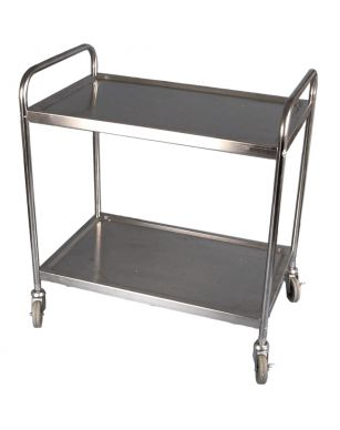 Flat Pack 2 Tier Stainless Clearing Trolley (860mmx930x530)