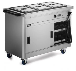 Lincat P6B3 Mobile Hot Cupboard With Bain Marie Top (Standard) 1125mm Wide x 670mm Deep x 900mm High
