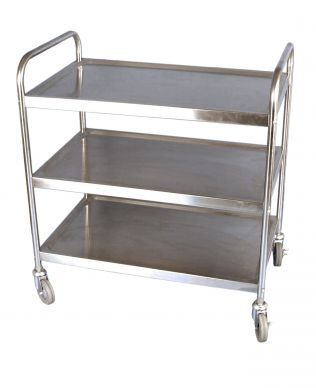 Flat Pack 3 Tier Stainless Clearing Trolley (860mmx930x530)