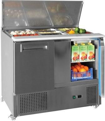 Valera VSALST3 3 Door Compact Prep Counter Fridge With Polypropylene Work Surface 368ltr
