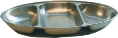 Stainless Steel Oval Serving Dish Three Division 350mm