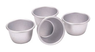 Silver Anodised Pudding Basin 5 inch (125mm) (6 Pack)