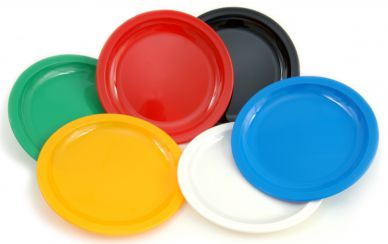 Harfield Polycarbonate Narrow Rim Coloured Plates 23cm (12 Pack)