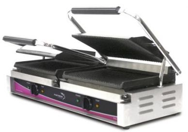 Pantheon Large Double Contact/Panini Grill Ribbed CGL2R