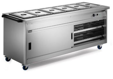 Lincat P8B6 Mobile Hot Cupboard With Bain Marie Top (Standard) 2100mm Wide x 800mm Deep x 900mm High
