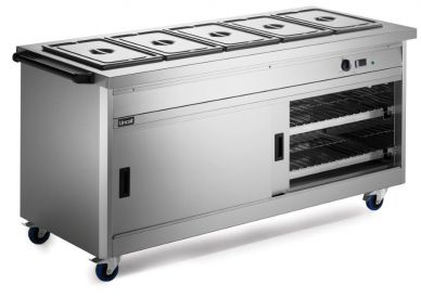 Lincat P6B5 Mobile Hot Cupboard With Bain Marie Top (Standard) 1775mm Wide x 670mm Deep x 900mm High