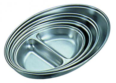 Stainless Steel Oval Serving Dish Two Division 250mm