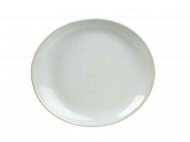 Genware White Rustic Terra Stoneware Oval Plate 21cm x 19cm (12 Pack)