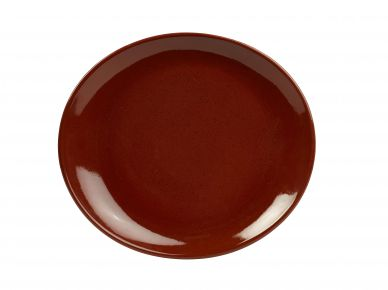 Genware Red Rustic Stoneware Oval Plate 25cm x 22cm (12 Pack)