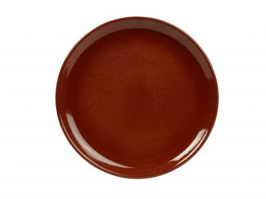 Genware Red Rustic Stoneware Coupe Plate 24cm (12 Pack)