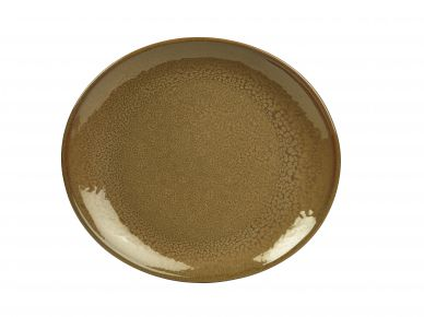 Genware Brown Rustic Stoneware Oval Plate 21cm x 19cm (6 Pack)