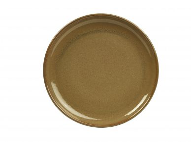 Genware Brown Rustic Stoneware Coupe Plate 24cm (12 Pack)