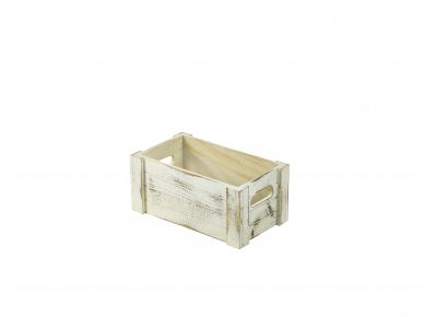 White Wash Finish Rustic Wooden Crate (27cm x 16cm x 12cm)