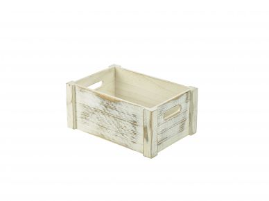 White Wash Finish Rustic Wooden Crate (34cm x 23cm x 15cm)