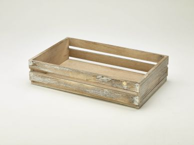 Dark Finish Rustic Wooden Crate (35cm x 23cm x 8cm)