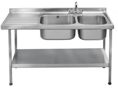 Double Bowl Single Left Drainer (1500mm x 600mm x 875mm)