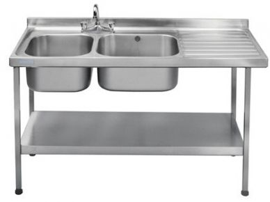 Double Bowl Sink Single Right Drainer (1500mm x 600mm x 875mm)