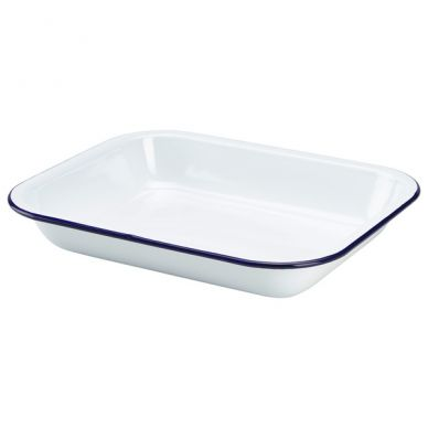 Blue And White Enamel Baking Tray 28cm x 23cm x 4.5cm