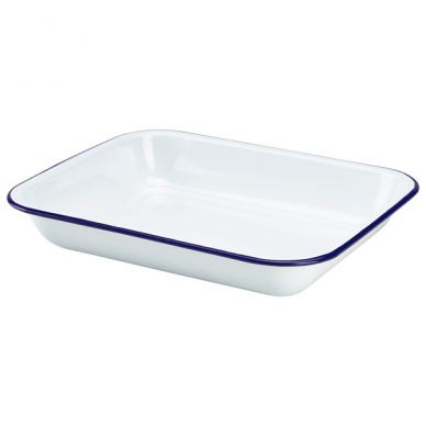 Blue And White Enamel Baking Tray 31cm x 25cm x 5cm