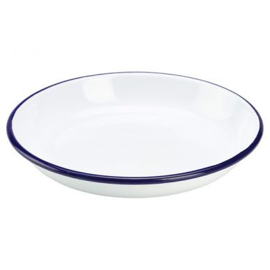 Blue And White Enamel Rice/Pasta Plate 18cm