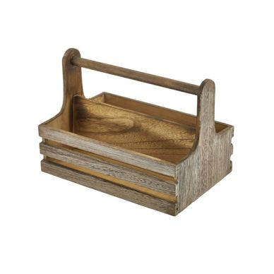 Rustic Wooden Handled Table Caddy (24.5cm Wide x 16.5cm Deep x 18cm High)