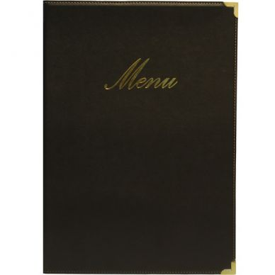Black Classic A5 Menu Holder (4 Page Facing)
