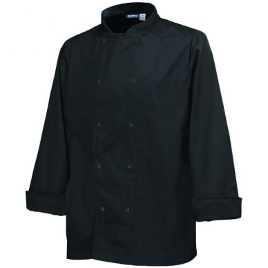 Economy Black Long Sleeve Press Stud Button Chef Jacket