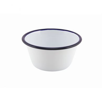 Blue And White Enamel Round Pie Dish (12cm Diameter)