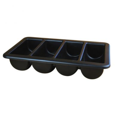 Black 4 Compartment Plastic Cutlery Tray
