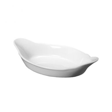 Royal Genware 25 cm Oval White Eared Dish (4 Pack)